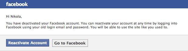 Facebook deactivation email