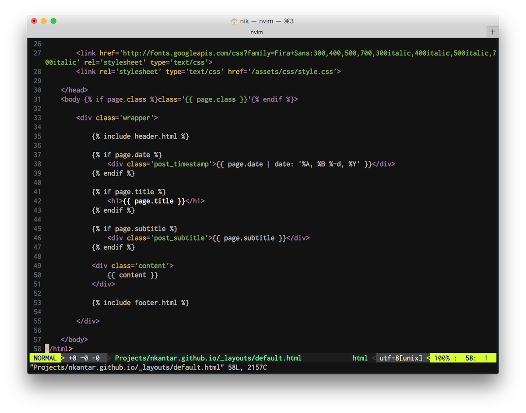 Neovim in the Spacegray Terminal theme